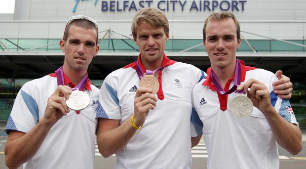 Olympians Richard and Peter Chambers and Alan Campbell (centre)