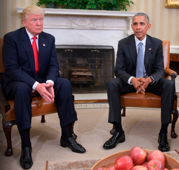 Donald Trump and Barack Obama in talks at the White House yesterday