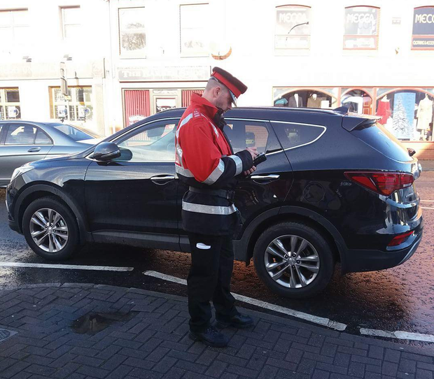 A traffic warden is spotted in Coalisland