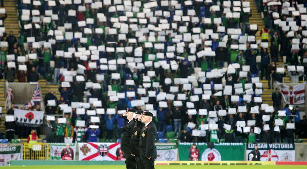 World Cup Qualifier - Northern Ireland Vs Azerbaijan at the National Stadium at Windsor Park. Wreath laying and one minutes silence at the start of the match in remembrance of Armistice day. Picture by Jonathan Porter/Press Eye.