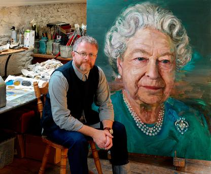 Belfast-born artist Colin Davidson with his portrait of the Queen