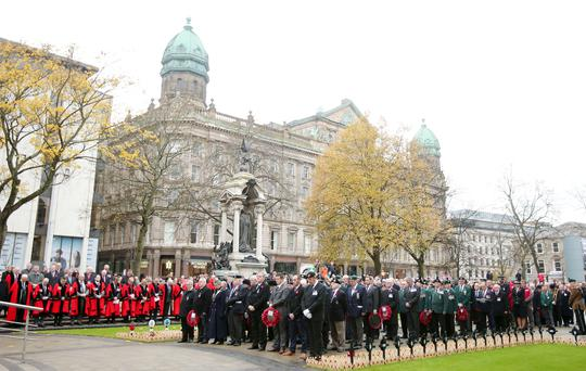 The Remembrance Day service at the Cenotaph in the grounds of Belfast City Hall