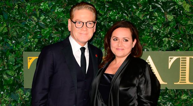 Sir Kenneth Branagh and Lindsay Brunnock at the London Evening Standard Theatre Awards held at the Old Vic Theatre in London last night