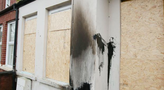 The house in Madrid Street, east Belfast, that was set alight