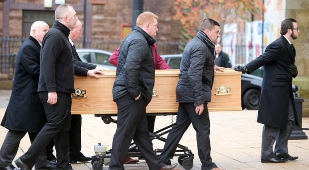 Funeral of James Hughes at St Peter's Cathedral in west Belfast. The 62-year-old was murdered in Divis Tower last week. Picture by Jonathan Porter/Press Eye.