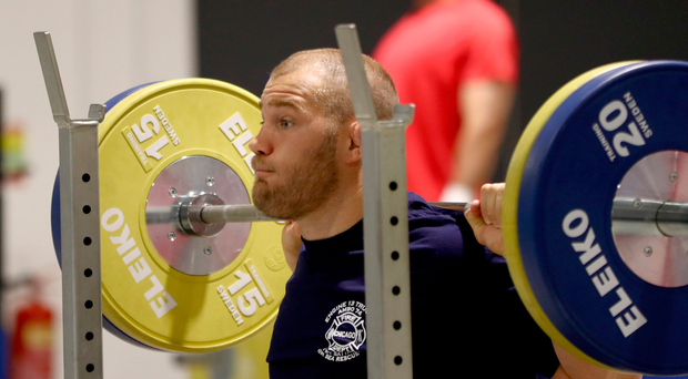 Heavy duty: Owen Franks at Irish Institute of Sport yesterday