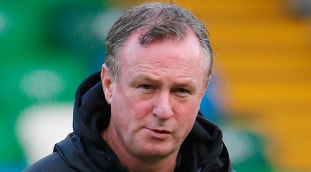 Northern Ireland Manager Michael O'Neill during yesterday's training session at Windsor Park
