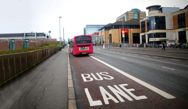 The 24-hour bus lane at Belfast Central Station