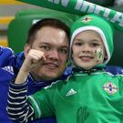 Northern Ireland fans during Tuesday night's international friendly against Croatia at the National Stadium at Windsor Park. Photo by William Cherry/Presseye