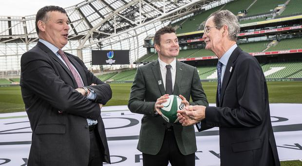 World in union: (from left) Philip Browne, CEO of the IRFU, bid ambassador Brian O'Driscoll and Dick Spring, chairman of Ireland's RWC 2023 bid oversight board at Aviva stadium announcement yesterday