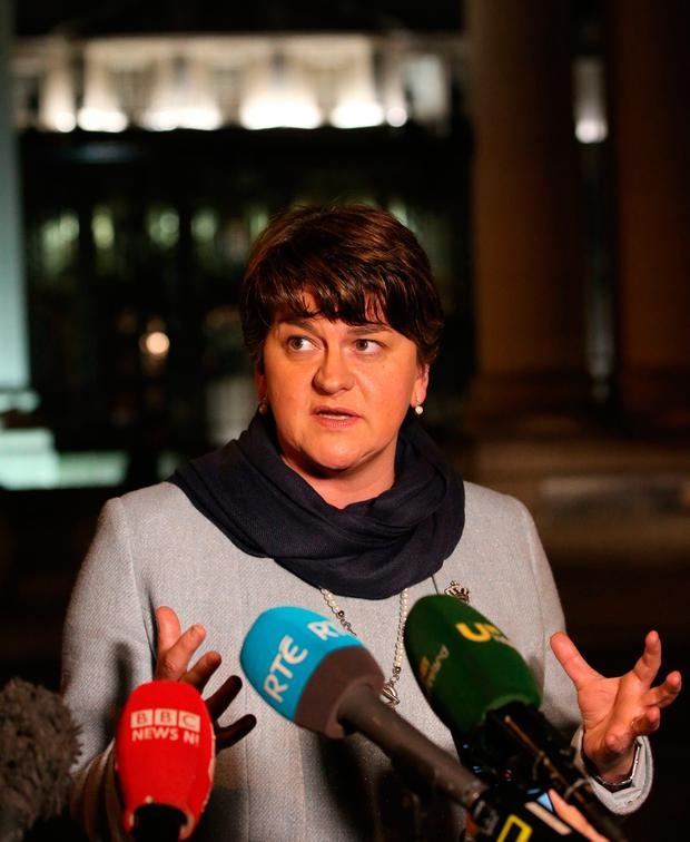 Northern Ireland First Minister Arlene Foster speaks to the media on her arrival at Government Buildings in Dublin to discuss Brexit with Taoiseach Enda Kenny. PA