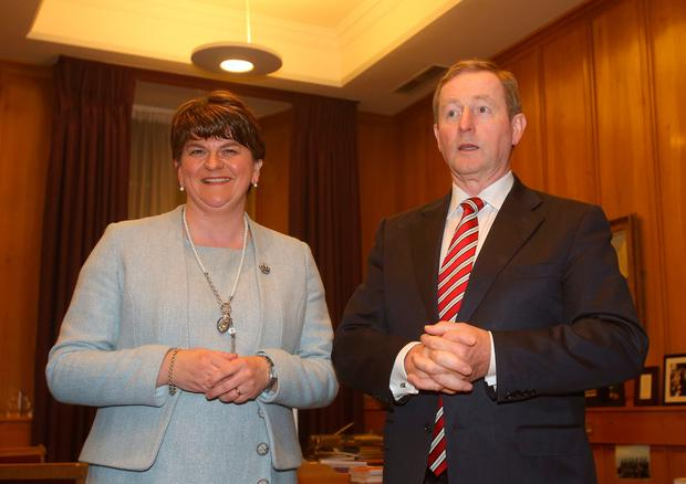 Taoiseach Enda Kenny with Northern Ireland First Minister Arlene Foster at Government Buildings in Dublin, where they are to discuss Brexit. PA