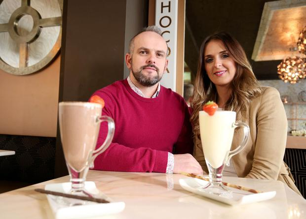 Stuart Elliott with his wife, Laura-Lee in their new coffee shop Chocoa in Ballymena