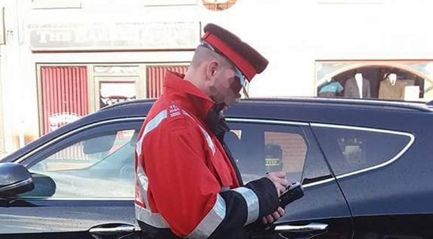 The traffic warden on the streets of Coalisland last week