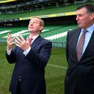 Taoiseach Enda Kenny (centre) with Dick Spring, Chairman of Ireland's Bid Oversight Board (left) and Philip Browne, CEO of the IRFU