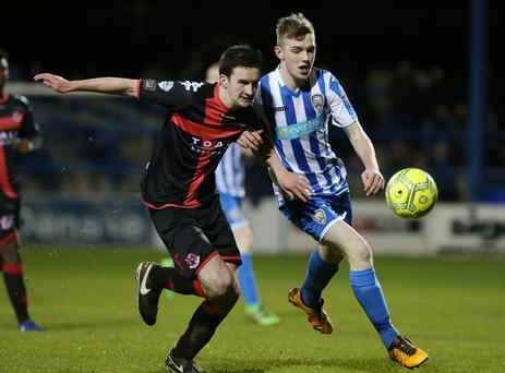 Northern Ireland League Cup - Quarter Finals. Coleraine Vs Crusaders in Coleraine. Coleraine's Jamie McGonigle with Crusaders' Michael Kerr. Picture by Jonathan Porter/Press Eye.
