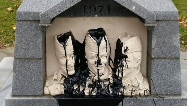 Paint was poured over the memorial in north Belfast. Pic BBC