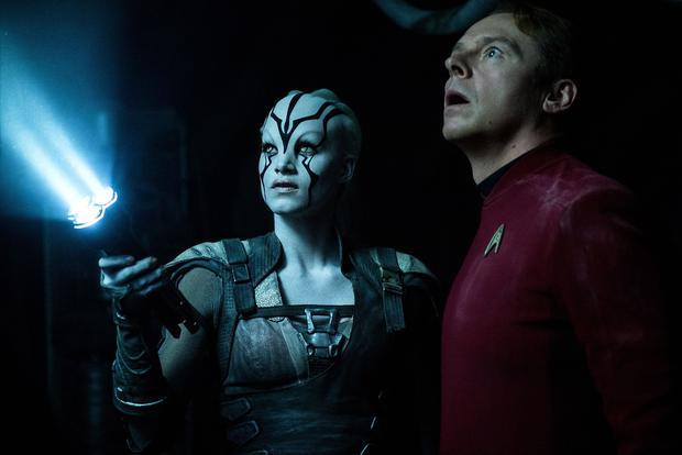 Beam me up: Sofia Boutella as Jaylah and Simon Pegg as Scotty in Star Trek Beyond