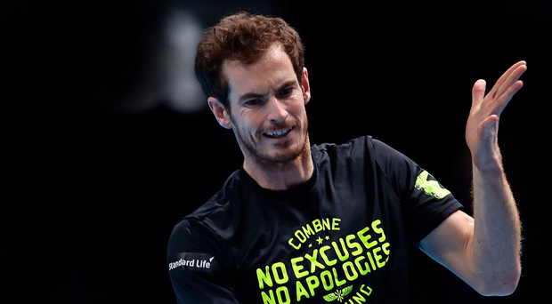 Eyes on prize: Andy Murray tunes up for his shot at glory at the World Tour Finals at the O2 Arena in London
