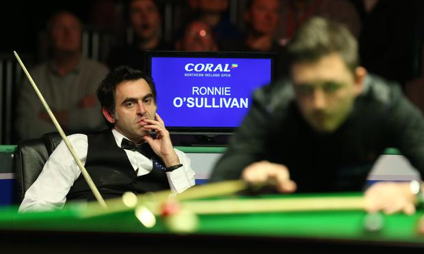 Exit: Ronnie O'Sullivan in Belfast last night