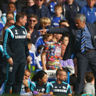 Old foes: Jose Mourinho and Arsene Wenger square up when Arsenal clashed with Chelsea in October, 2014