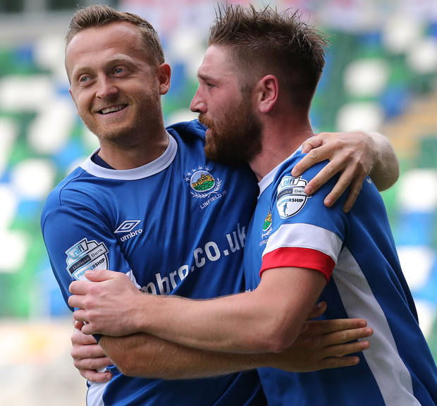 Key battles: Mark Stafford, pictured right with Sammy Clingan, believes the title-chasing Blues are entering a crucial stage of the league campaign