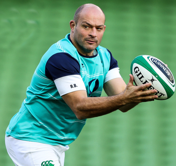 Good hands: Rory Best on his Ireland Captain's Run at the Aviva yesterday