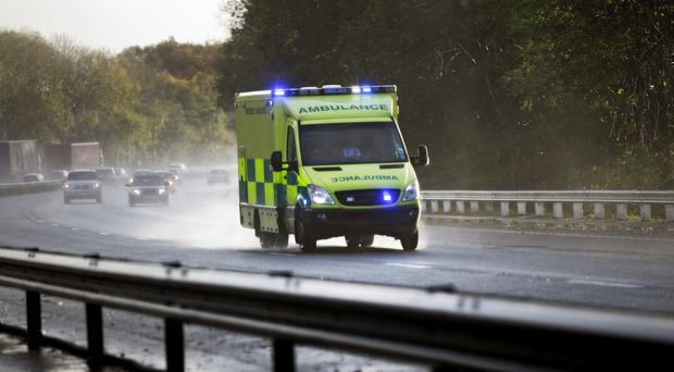 An ambulance responds to an emergency call