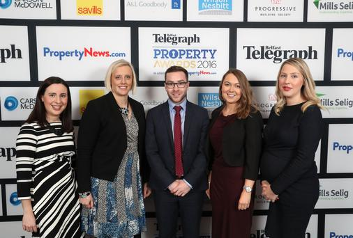 Flashback to Belfast Telegraph Property Awards 2016 - Maeve Fisher, Emma Hunt, Michael Irwin, Joanne Mulholland and Caroline Glover pictured at the Belfast Telegraph Property Awards 2016 at the Ramada Hotel, Shaws Bridge, Belfast.