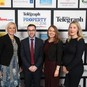 Maeve Fisher, Emma Hunt, Michael Irwin, Joanne Mulholland and Caroline Glover pictured at the Belfast Telegraph Property Awards 2016 at the Ramada Hotel, Shaws Bridge, Belfast.