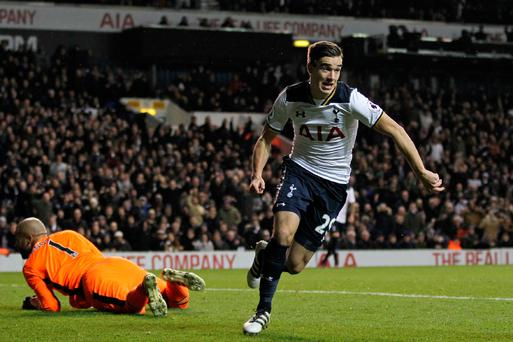 Cause for celebration: Harry Winks scores for Spurs