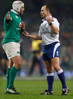 Listen here: Rory Best remonstrates with referee Jaco Peyper during Ireland's clash with the All Blacks