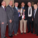 Golden memories: Former Belfast Telegraph Sports Editor Malcolm Brodie (fourth from right) catches up with members of Linfield's seven-trophy team from 1961-62 at a reunion in 2012. Joining Malcolm are Ken Gilliland, Jim Reid, Isaac Andrews, Bobby Braithwaite, Hubert Barr, Bobby Irvine, Billy Wilson and Ray Gough