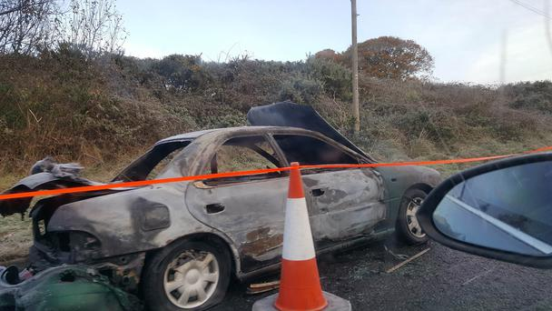 The car was found burnt out. Pic: PSNI