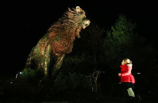 Launch of the CS Lewis Square in east Belfast. Five-year-old Annie-Mae McCracken with Aslan Picture by Jonathan Porter/Press Eye