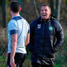 Having a laugh: Brendan Rodgers in relaxed mood at Celtic training in Glasgow yesterday
