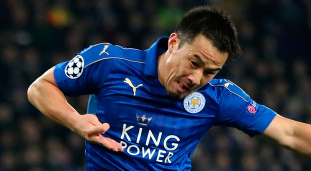 Fast starter: Shinji Okazaki gets the ball rolling for Leicester