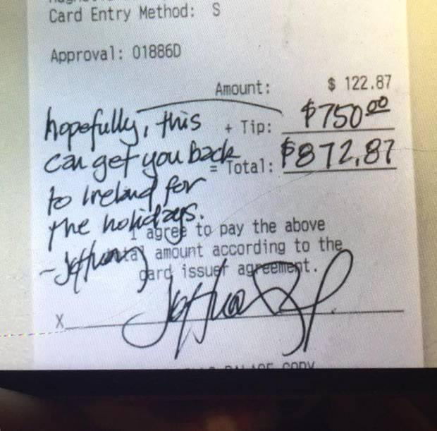 The receipt showing the kind message and generous tip.