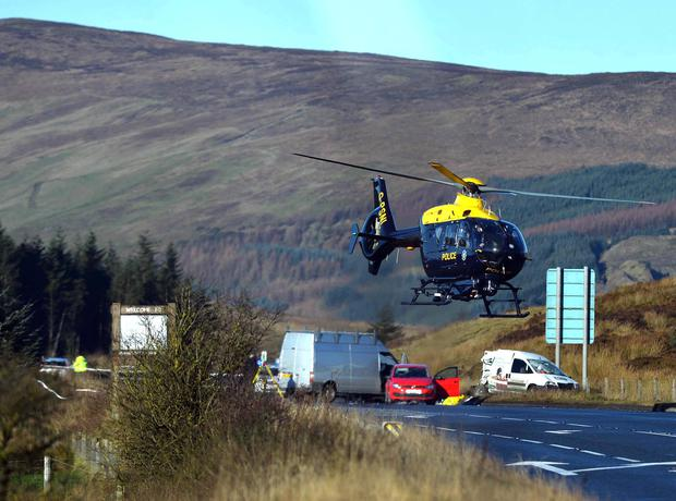 A woman has been airlifted to hospital following a crash on the Glenshane Pass in Dungiven, County Londonderry. A spokesperson for the ambulance service said the woman's injuries were