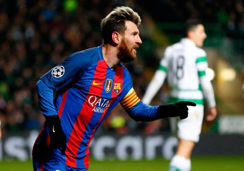 Barcelona's Lionel Messi celebrates scoring his sides opening goal during the UEFA Champions League match at Celtic Park, Glasgow. PRESS ASSOCIATION Photo. Picture date: Wednesday November 23, 2016. See PA story SOCCER Celtic. Photo credit should read: Owen Humphreys/PA Wire