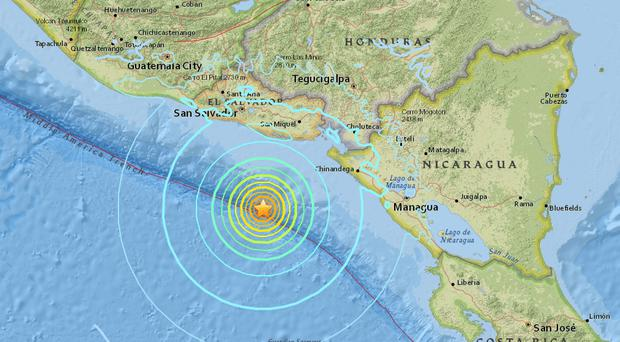A 7.2 magnitude earthquake struck off the Pacific coast of Central America Image: earthquake.usgs.gov