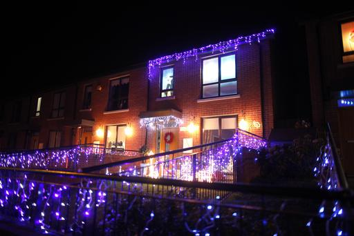 Christmas decorations light up a house on the Limestone Road in North Belfast. Pic by Peter Morrison