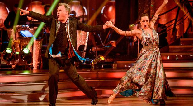 Katya Jones and Ed Balls during the live show for tonight's edition of the BBC1 show, Strictly Come Dancing. Kieron McCarron/BBC/PA Wire