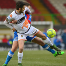 White hot: Glentoran striker Curtis Allen's classy strike gave them three priceless points against Ards
