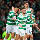 Top Bhoy: Tom Rogic is congratulated after opening the scoring at Hampden