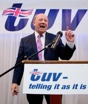 Jim Allister speaking during the annual TUV conference in Cookstown