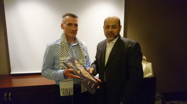 Sinn Fein's Declan Kearney during his meeting with Hamas representative Dr Musa Abu