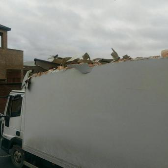 Damage caused to the truck. Pic PSNI
