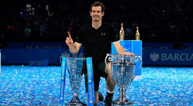 Andy Murray celebrates winning the Barclays ATP World Tour Finals at The O2, London. (PA file photo dated 20-11-2016)