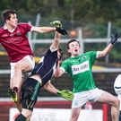 On target: Shane McGuigan scores for Slaughtneil in the Derry final
